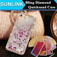 Wholesale Iphone 5s Colors Rhinestone Case - Diamond Rhinestone Bling Case Glitter Star Liquid Quicksand Hard PC Back Shell Cover for iPhone 6 6s Plus 5 5s se 6 colors