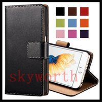 Wholesale Real Leather S4 Case Brown - Flip Wallet Real Leather case for iphone 5S 6 6s Plus Samsung Galaxy S3 S4 S5 Note 3 4 Sony Z3 Card Slot