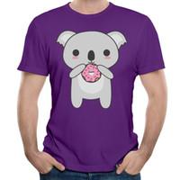 Wholesale Koala Shorts - Discounted 100% cotton t-shirt mens formal short sleeve tshirts pet printed teenage boy's crew-neck tops Kawaii Koala Eating A Donut