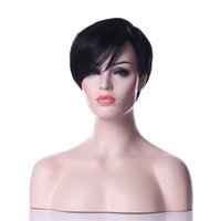 Wholesale Color 1b Wigs - Hot Selling Classical Rihanna Style Heat Resistant Black 1B Color Short Straight Weman Synthetic Ladys' Hair Wig Daily Natrura Wigsl