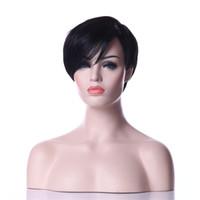 perruque noire rihanna achat en gros de-Vente chaude Classique Rihanna Style Résistant À La Chaleur Noir 1B Couleur Court Droite Weman Synthétique Ladys 'Perruque De Cheveux Quotidien Natrura Wigsl