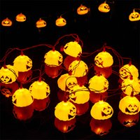 Batteriebetriebene Leuchten Liefert Kaufen -Halloween Dekorationen 16 LEDs Kürbis String Lights Fairy Lights Festival Lampe Halloween Props Haunted Haus Supplies AA Batterie betrieben