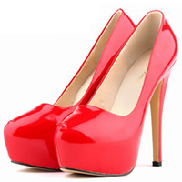 Wholesale Pumps Glitter Womens - New 2016 Womens Sexy Shiny High Heels Red Wedding Party Shoes Platform Heels Patent Leather Pupms Shoes For Woman Good Quality