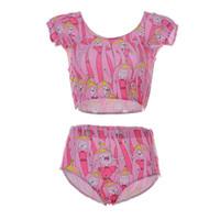 Wholesale Pure Fashion Wear - Lovely Women Swimming Suit Vest Breathable Human Beachwear Swimming Fashion Two Piece Wear Mood Changes Villain Swim Set Pink LNHst