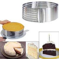kek tabakası dilimleme makinesi toptan satış-7.8 inç için Mus Halka Paslanmaz Çelik Kek Kalıbı Katmanlı Dilimleme Kiti Yuvarlak Daire Kesici Geri Çekilebilir Kek Yüzük