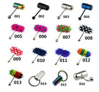 Wholesale Wholesale Vibrating Rings - Wholesale Vibrating Tongue BarBell Rings Koosh Ball Body Jewelry PIercing