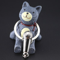 Wholesale Microphone Key Chain - 3D Music Microphone Keychains I want to sing with you Mic Voice Charm Pendant Key chain Key Ring