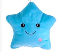 Wholesale Glow Pillow Stars - Battery Powered Colorful Star Decorative Pillows Glow LED Light Pillow Cushion Flashing Light Plush Home Decor Star Cushions
