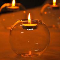 suporte de vela do casamento do vidro de cristal venda por atacado-Suporte de vela de vidro de cristal clássico barra de casamento festa em casa decoração castiçal