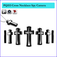 Wholesale Necklace Hidden - 16GB memory built-in cross pendant pocket camera Digital Mini Camcorder Spy Gadget Spy Hidden Camera Cross Necklace Cam PQ153