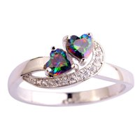 Wholesale Lab Gem - AAA CZ Lab Fashion Jewelry MultiColor Rainbow Topaz Gems 18K White Gold Plated Silver Ring Size 6 7 8 9 10 11 Free Shipping