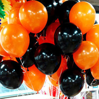 Halloween-Partei-Dekorationen 10 Zoll 2.2 G schwarze orange Latex-Ballone 100PCS / Lot
