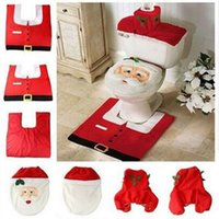 Wholesale Thick Bathroom Rugs - Hot Fancy Santa Toilet Seat Cover And Rug Bathroom Set Contour Rug Christmas Decorations For Natal Navidad Decoracion