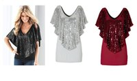 Sexy Womens Top Bluse Sequins Glitter Solid Color V Neck Fit In Well Top Shirts S- XL