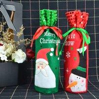 ingrosso i migliori legami natali-Christmas Wine Bottle Covers Sacchetti per vino rosso Decorazione Santa Snowman Style Con Red Pretty Tie Gift Party Miglior regalo per Xmas Bar