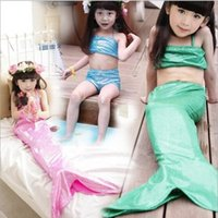 Wholesale Swim Wear 3t Girls - Girls Kids Swimmable Mermaid Tail Swimwear beautiful Children Bikini Bathing Suit Swimsuit Beach Wear Baby Swimming Costume for 3-10T Hot