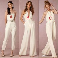 Wholesale Cheap Jumpsuits For Women - Sexy V-Neck Halter Country Style Ivory Chiffon Bridesmaid Jumpsuits 2018 Latest Maid Of Honor Dress Cheap Women Dresses For Wedding Guest