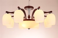 Wholesale White Wood Living Room Furniture - Modern wood living room ceiling lamp chandelier Chinese wood furniture wood double-leaf decoration Owen DHL Free Shipping