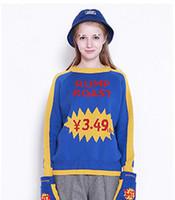 gelber blauer pullover großhandel-Harajuku Frauen Pullover Gestrickte Frau Frühling Herbst Pullover Buchstaben Jacquard Casual Jumper Mode Gelb Spleißen Blau