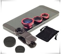 Wholesale Telescope Fisheye Lens - Universal 3 in 1 lens set fisheye lens samsung microscope fish-eye lens telescope wide angle lens for all samsung iphone ipad lg with clip