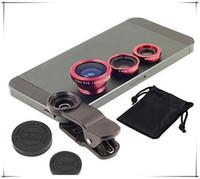 iphone fisheye objektiv großhandel-Universal 3 in 1 objektiv set fisheye objektiv samsung mikroskop fischauge teleskop weitwinkelobjektiv für alle samsung iphone ipad lg mit clip