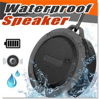 microfone longo venda por atacado-Altofalantes sem fio do Bluetooth 3.0 Waterproof o C6 do altofalante do chuveiro com o excitador 5W forte Vida longa da bateria e o Mic e o copo removível da sucção