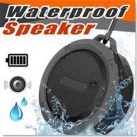 fincan hoparlör bluetooth toptan satış-Bluetooth 3.0 Kablosuz Hoparlörler Su Geçirmez Duş C6 Hoparlör ile 5 W Güçlü Sürücü Uzun Pil Ömrü ve Mic ve Çıkarılabilir Vantuz