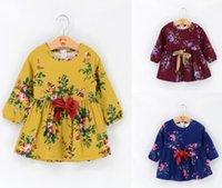 Wholesale Belted Ruffle Top - Baby Girls Floral Print Dresses Kids autumn long sleeve Dress Girls Bows belt princess Dress tops Children's Clothing A9506
