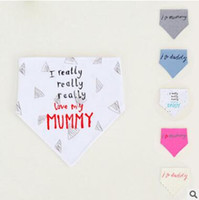 Wholesale Thick Baby Bibs - Thick Baby Bandana Bibs Baby Infant Letter Cotton Double Layer Bandana Bibs Cute Triangle Head Scarf Long Absorbent Adjustable Bib 574