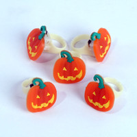 Wholesale Pirates Makeup - Mini finger lights ring lamp Halloween ghost pirate pumpkin christmas decoration lights soft plastic for holiday party makeup party