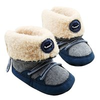 Wholesale Stylish Baby Boy Shoes - Wholesale- Stylish Warm Winter Snow Boots Baby Girl Shoes Baby Soft Sole Shoes Toddler Prewalker Boys Lace-UP Shoes