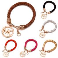 Wholesale Luxury Charms - Luxury Brand Bracelets for Women Men Silver Rose Gold Bracelets Bangles Fashion Cheap Jewelry Letter Braided PU Luxury Leather Bracelets