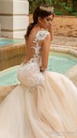 Wholesale Colorful Lace Design - sheer back mermaid wedding dresses 2017 crystal design bridal embellished bodice sleeveless sweetheart neckline fit and flare wedding gowns