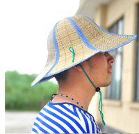 Wholesale Fold Visors - Wholesale-Women's summer parent-child hat sun hat folding strawhat straw braid beach visor cap sunbonnet
