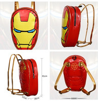 Wholesale Ironman Backpack - The Avengers Backpack The Avengers Kids School Bags Children Backpack Ironman Schoolbags PU Leather Cartoon kids Schoolbags Best Gift D622 5