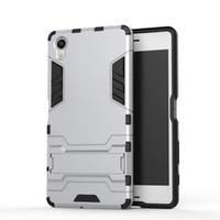 Wholesale Xperia L White Case - FOR SONY Xperia X XP XA XZ X COMPACT E5 Hybrid KickStand Anti Shock Defender Armor Case TPU+PC cover 100pcs l