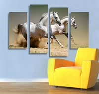 New Hot Sell 4 painel Running White Horse Large HD Picture Modern Home Wall Decor Canvas Print Pintura a óleo emoldurado artF / 1108