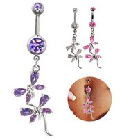 Compra I Monili Del Corpo Di Zirconio Cubico-Hot Button gioielli Belly Body Piercing Acciaio inox zirconi Libellula Navel Ring Allergy e nichel libera