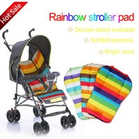 Wholesale Rainbow Car Mats - Wholesale- 10Pcs l,Baby Thickness Cheap Rainbow Stroller Mat Child Cart Seat Cushion Anti-Slip Stroller Accessories Kids Chair Car Pad