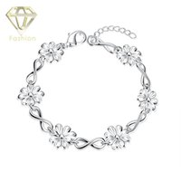 Wholesale Corsage Charms - Corsage Bracelet New Design Multi Number 8 and Flowers Link Chain Silver Plated Bracelets Fashion Jewelry for Women Party