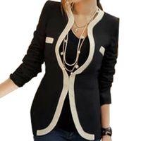 Wholesale Career Jackets - Wholesale- 2017 Casual Style Women Ladies B&W Long Sleeve Career Coat Outwear Jacket Slim Suit Size S-XL