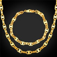 Wholesale Trendy Golden Chain - U7 Marina Chains Set 18K Real Gold Plated Platinum Plated Jewelry Set For Men Jewelry New Trendy Bracelet Necklace Set Accessories