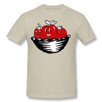 camisas dos homens de algodão on-line venda por atacado-3 Maçãs na Cesta Tops Camisa Adulto Confortável Juventude Camisetas Online Mens Algodão Orangic Manga Curta Camisa Masculina Tshirt Grande