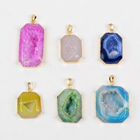 Wholesale Druzy Charms - Fashion Octagon Shape Natural Rainbow Agate Druzy Geode Stone Pendant Connector Charm Bead Jewelry Acc G0522