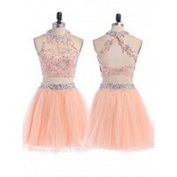 Abiti Homecoming a due pezzi corti 2016 Peach Pink Sheer Lace Halter Neck Beaded Prom Gowns aperto indietro Tulle Sexy Mini Cocktail Party Dress