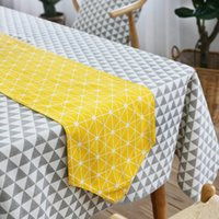 Wholesale Modern Table Runners - 30*160Cm Western Modern Simplicity Table Runners Cotton Linen Yellow Runner Geometry Pattern Design Tablecloth Bed Runner Multi Sizes