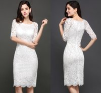 Wholesale Dresses Bling Knee Length - Gorgeous New Little White Evening Dresses 2017 Scoop Sheath Knee Length Full Lace Party Gowns Bling Cocktail Gowns Cheap