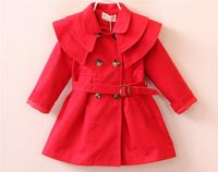 Wholesale 2016 autumn new children s clothing European style waist girls windbreaker jacket and long sections girl Tench coats