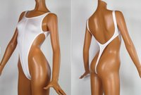 Wholesale One String Thong - 2016 New Solid White Thong One Piece Swimwear Backless High Slit Swimsuit G String Women Thong Swimsuits Sexy Bathing Suits