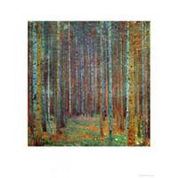 pintura al óleo árboles forestales al por mayor-Famoso Gustav Klimt Tannenwald Pine Forest pintado a mano de árboles pinturas al óleo reproducción de la lona decoración del hogar